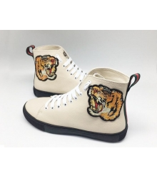Кеды женские Gucci (Гуччи) с вышивкой тигра High Beige