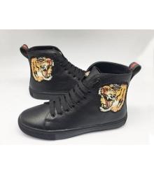 Кеды женские Gucci (Гуччи) с вышивкой тигра High Black