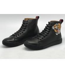 Женские кеды Gucci (Гуччи) с вышивкой тигра High Black
