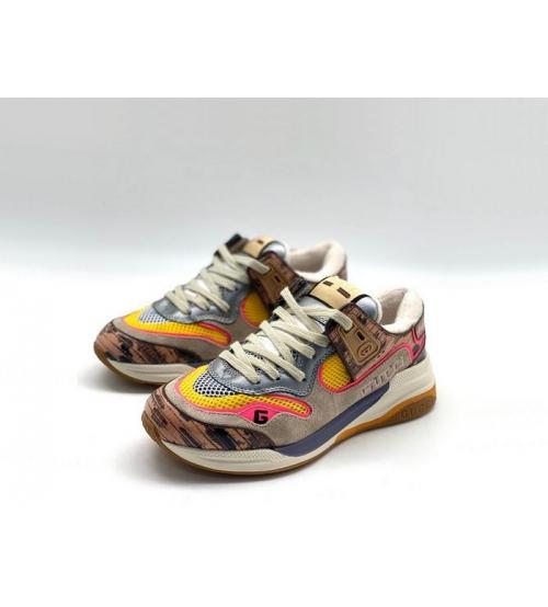 Женские кроссовки Gucci (Гуччи) Ultrapace кожаные Gray/Brown