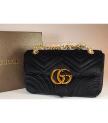 Женская сумка Gucci (Гуччи) велюровая Black