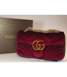 Женская сумка Gucci (Гуччи) велюровая Bordo