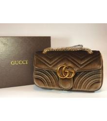 Женская сумка Gucci (Гуччи) велюровая Brown