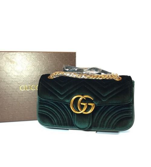 Женская сумка Gucci (Гуччи) велюровая Green