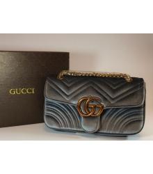 Женская сумка Gucci (Гуччи) велюровая Grey