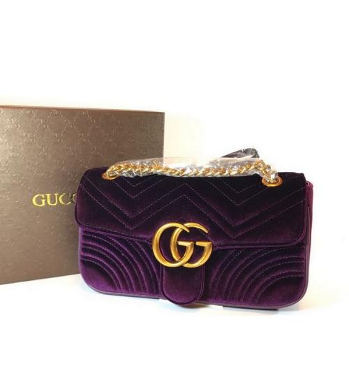 Женская сумка Gucci (Гуччи) велюровая Purple