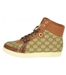Кроссовки мужские Gucci (Гуччи) высокие Brown