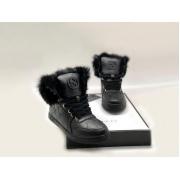 Женские кеды Gucci (Гуччи) высокие кожаные зимние с мехом Black