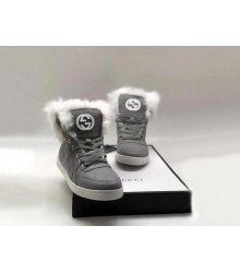 Женские кеды Gucci (Гуччи) высокие кожаные зимние с мехом Gray