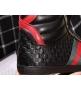 Кеды мужские Gucci (Гуччи) высокие осенние кожаные на шнуровке Black