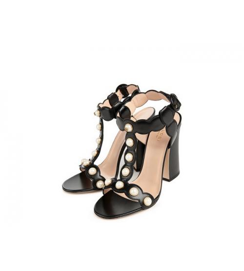 Босоножки женские Gucci (Гуччи) Willow летние кожаные на высоком каблуке с жемчужинами Black