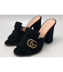 Сабо женские Gucci (Гуччи) замшевые Black