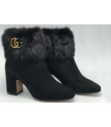 Полусапоги женские Gucci (Гуччи) замшевые на массивном каблуке Black