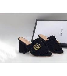 Сабо женские Gucci (Гуччи) замшевые на массивном каблуке Black
