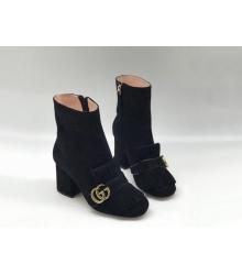 Женские ботильоны Gucci (Гуччи) замшевые на молнии каблук средней высоты с логотипом Black
