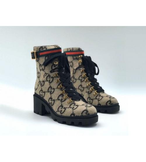 Женские ботинки Gucci (Гуччи) войлок из овчины на шнурках с лого Brown