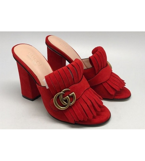 Сабо женские Gucci (Гуччи) замшевые Red