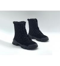 Женские ботинки зимние Gucci (Гуччи) замшевые с мехом на шнурках Black