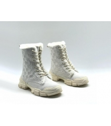 Женские ботинки зимние Gucci (Гуччи) замшевые с мехом на шнурках White