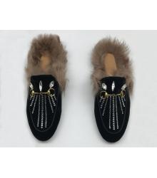 Женские лоферы Gucci (Гуччи) замшевые зимние с мехом с камнями Black