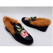 Мюли женские Gucci (Гуччи) зимние кожаные с цветами Black