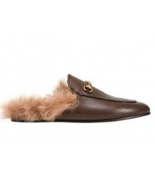 Лоферы женские Gucci (Гуччи) зимние кожаные с мехом Brown