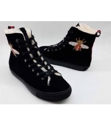 Женские кеды Gucci (Гуччи) зимние на меху с вышивкой пчелы Black