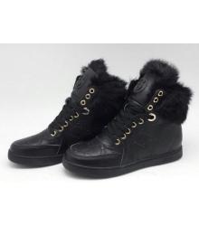 Кроссовки женские Gucci (Гуччи) зимние с мехом High Black