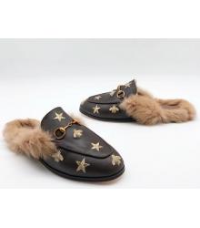 Лоферы женские Gucci (Гуччи) зимние с мехом со звездами и пчелой Brown