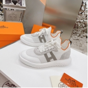 Женские кроссовки Hermes (Гермес) Addict c трикотажной ткани на шнурках White