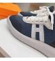 Женские кроссовки Hermes (Гермес) Addict c трикотажной ткани на шнурках Blue