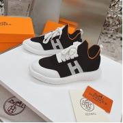 Женские кроссовки Hermes (Гермес) Addict c трикотажной ткани на шнурках Black