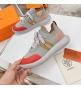 Женские кроссовки Hermes (Гермес) Addict c трикотажной ткани на шнурках Gray/Red