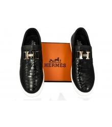Слипоны мужские Hermes (Гермес) Black/Alligator