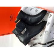 Ботинки женские Hermes (Гермес) кожаные Black