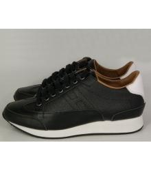 Женские кроссовки Hermes (Гермес) кожаные Black