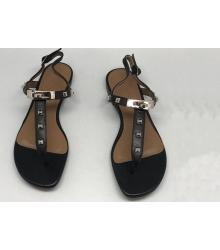 Женские сандалии Hermes (Гермес) Кожаные Black
