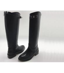 Женские сапоги Hermes (Гермес) кожаные Black