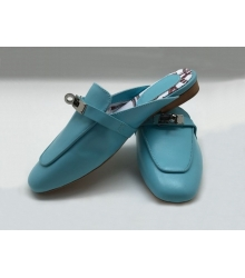 Женские лоферы Hermes (Гермес) кожаные Blue