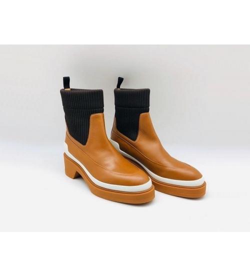 Ботинки женские Hermes (Гермес) кожаные Brown
