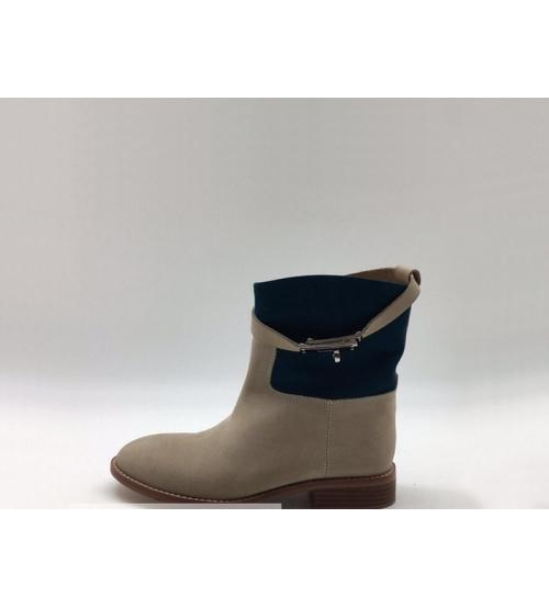 Ботинки женские Hermes (Гермес) кожаные осенние Gray/Black