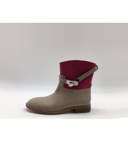Ботинки женские Hermes (Гермес) кожаные осенние Gray