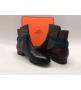 Женские ботинки Hermes (Гермес) кожаные осенние Black/Brown