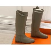 Женские сапоги Hermes (Гермес) кожаные высокие Gray