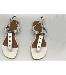 Женские сандалии Hermes (Гермес) Кожаные White