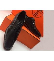 Туфли мужские Hermes (Гермес) лакированные Black
