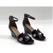 Женские босоножки Hermes ( Гермес) Legend sandal кожаные летние на танкетке Black