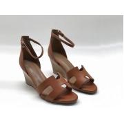 Женские босоножки Hermes ( Гермес) Legend sandal кожаные летние на танкетке Brown