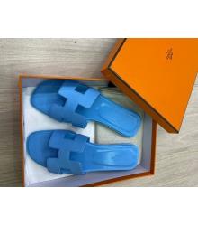 Женские сандалии шлепанцы Hermes (Гермес) летние кожаные Blue