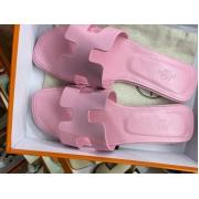 Женские сандалии шлепанцы Hermes (Гермес) летние кожаные Pink